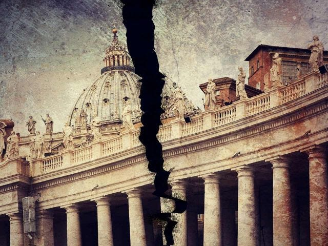 A painting of St. Peter's Basilica torn down the middle