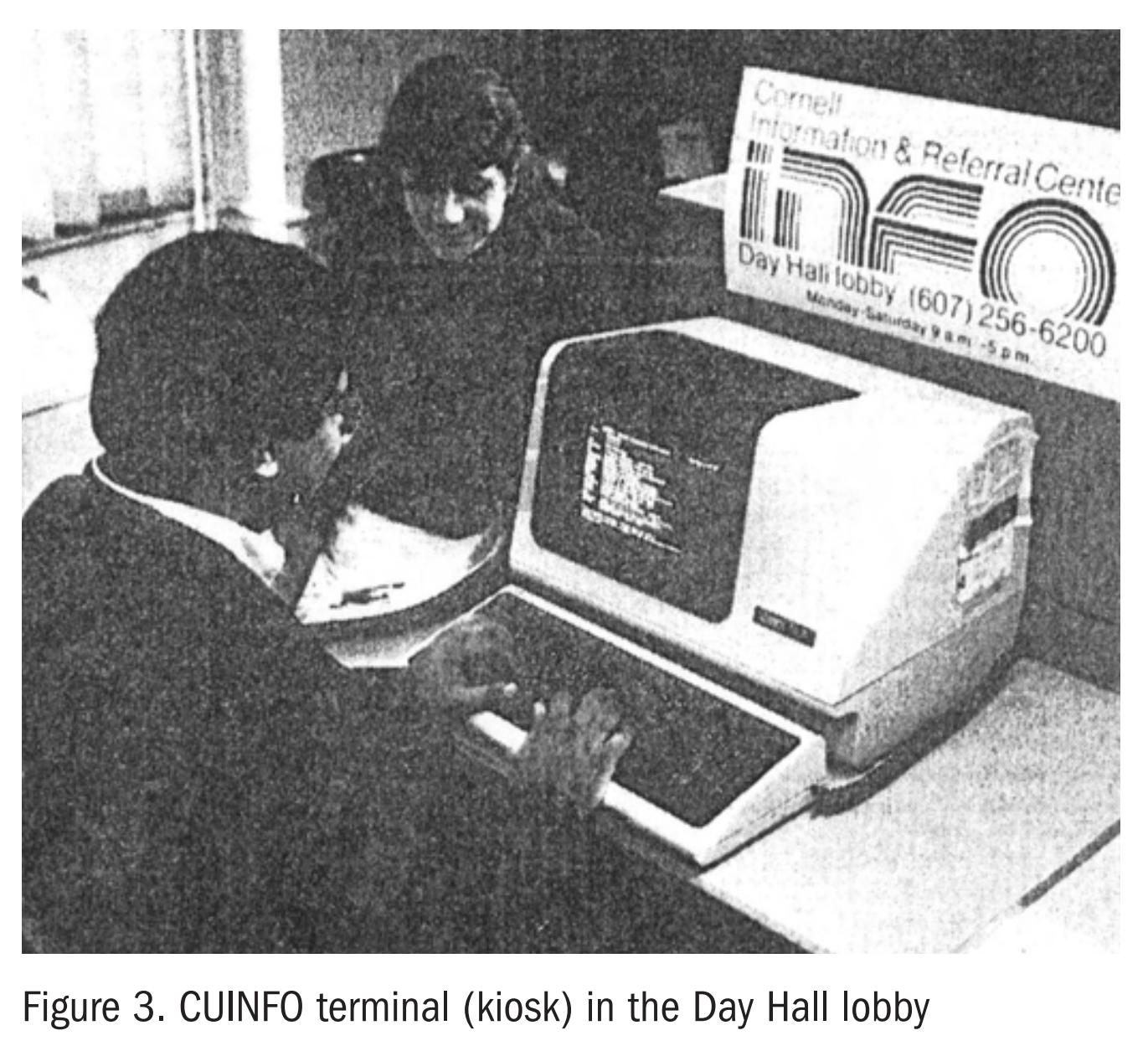 """A person using a mainframe terminal looking at a text sceen while another looks over the screen as well. There is a very mod sign saying """"CUINFO"""""""
