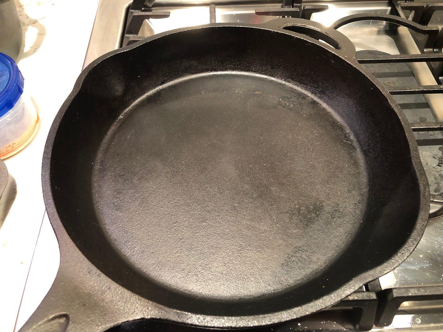 A well-seasoned cast iron pan