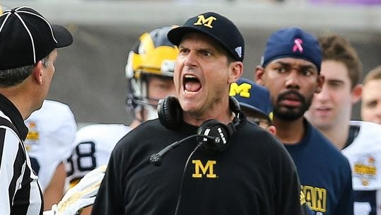 Image result for jim harbaugh mad