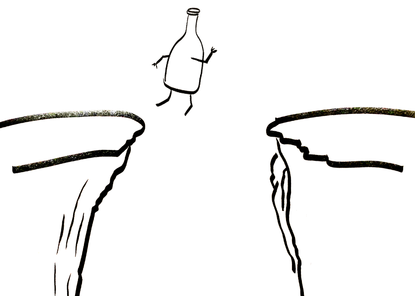 An anthropomorphic bottle leaps over a chasm