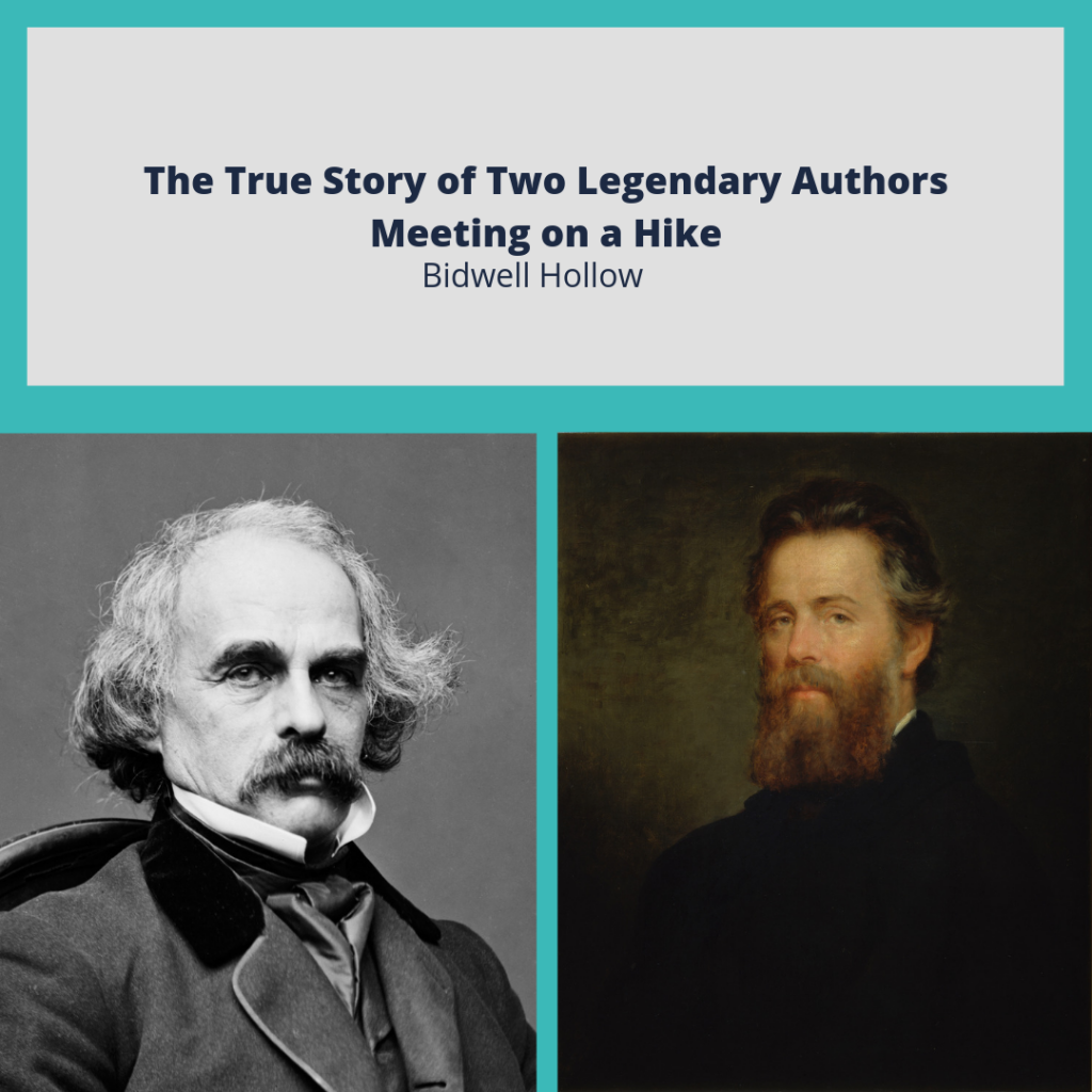 "Portraits of Nathaniel Hawthorne and Herman Melville below the text, ""The True Story of Two Legendary Authors Meeting on a Hike."""