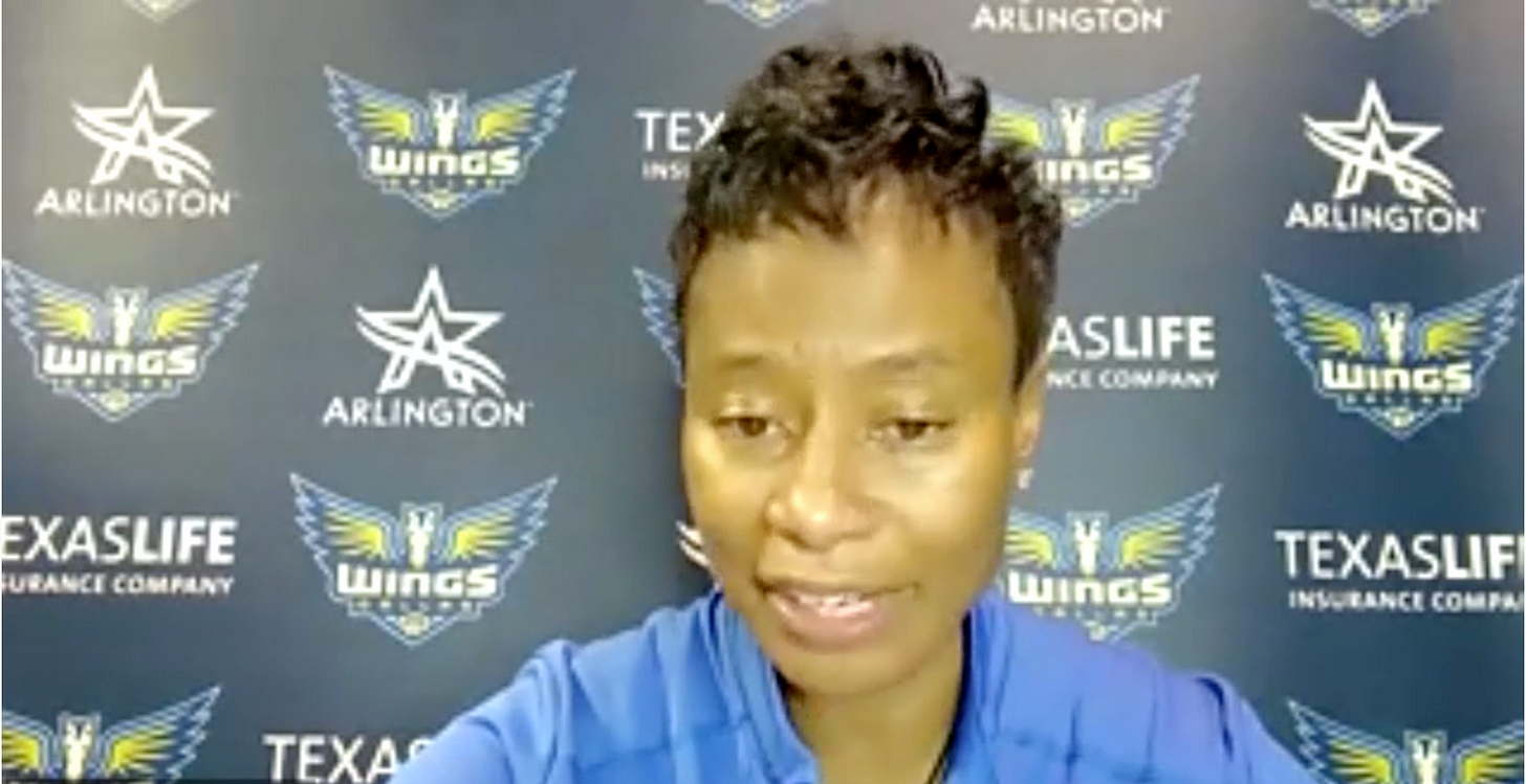 Vickie Johnson speaks to reporters after a win over the Seattle Storm, June 7, 2021. (WNBA Media Central)