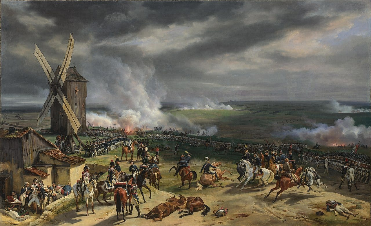 A painting of the Battle of Valmy. In it, the fire of cannon and muskets can clearly be seen.