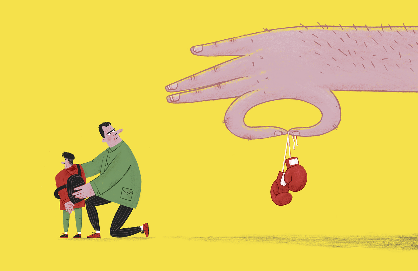 A man gets his son ready for school. A large hand holds a pair of boxing gloves, offering them to the father.