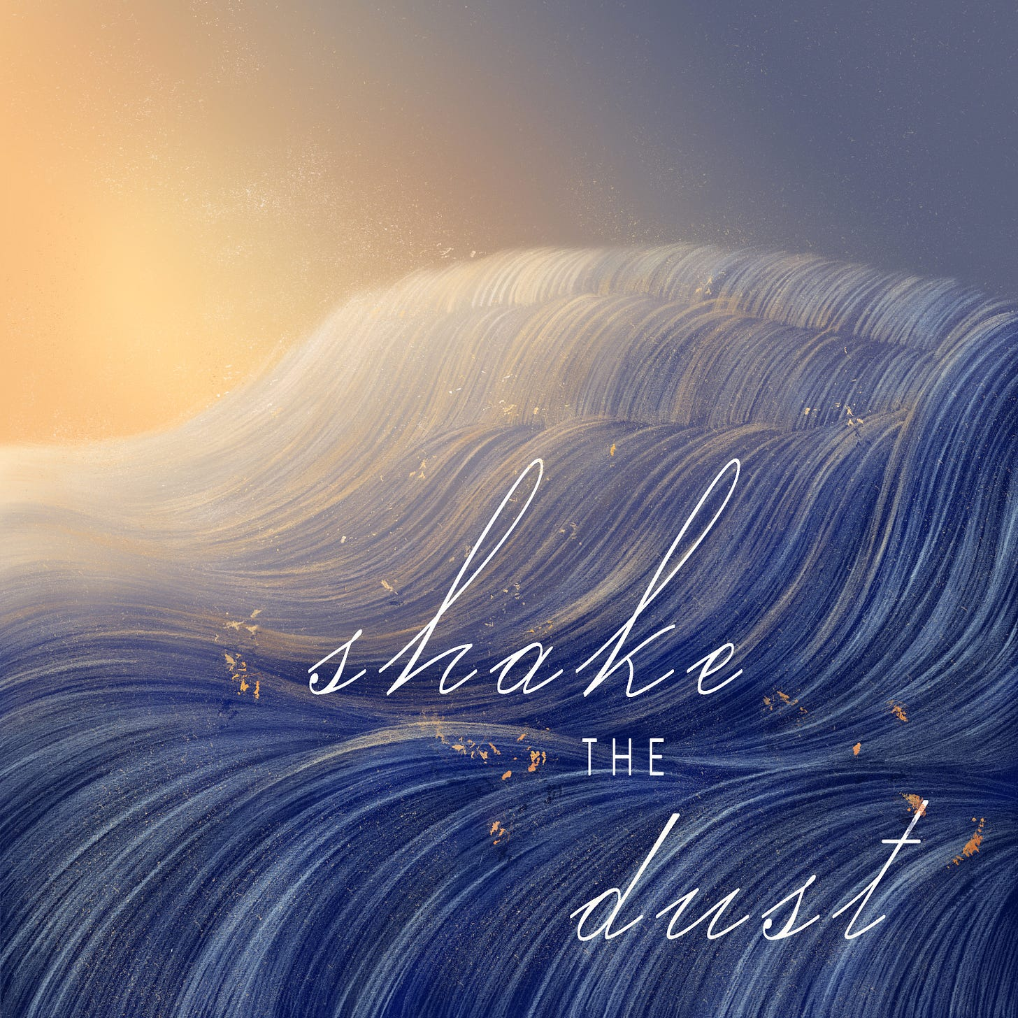 """A square image. It is a somewhat abstract Illustration in warm, bright colors of a blue and white landscape with flecks of orange. The landscape itself is undulating in about 4 waves descending from the top right to bottom left corners of the image. The sun is partially visible on the top left and the sky is blue. White, cursive lettering spells out """"Shake the Dust"""" across the ground."""