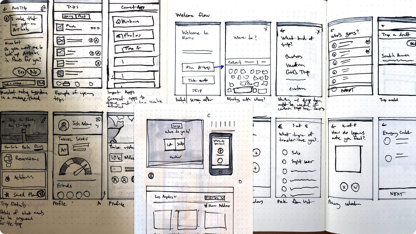 Image of low fidelity sketches