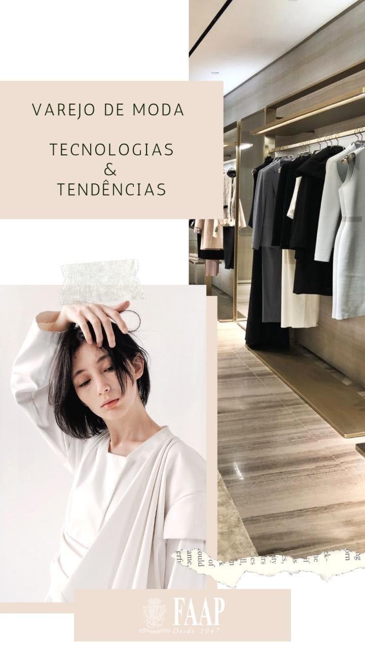 """imagem de divulgação para o evento """"varejo de moda: tecnologia e tendencias"""", com título e imagem de uma loja e uma modelo"""