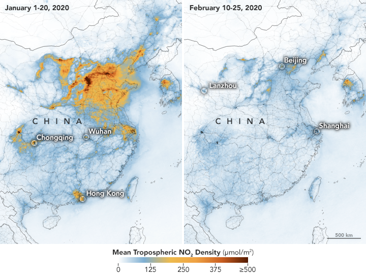 A map released by Nasa shows how air pollution levels have reduced in China this year