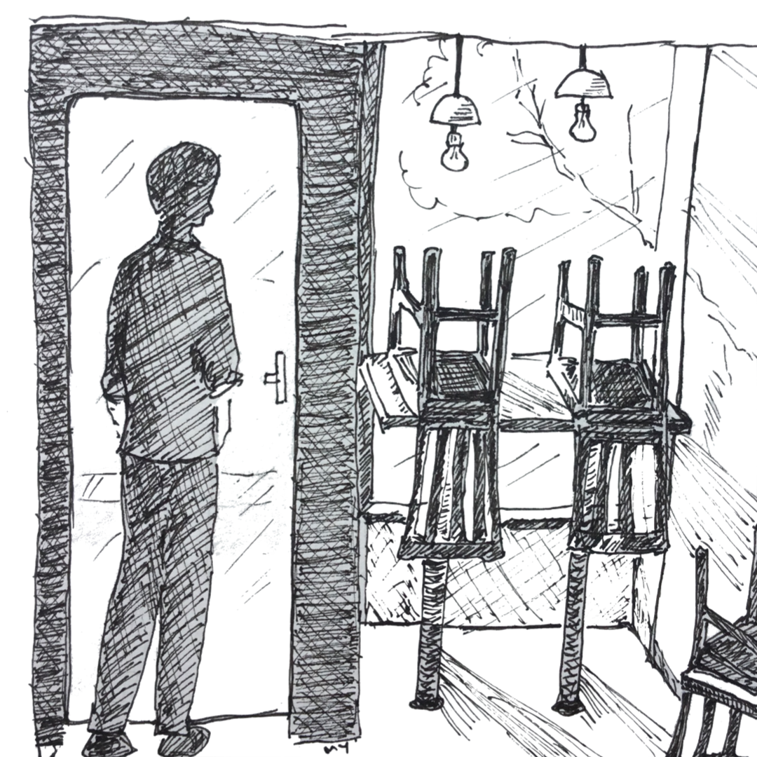 Black and white ink drawing (line drawing) showing a silhouette of a man, inside an empty restaurant. He's standing in front of his restaurant's door, head and shoulder drooping down, looking lost. On his right, there's a counter table overlooking the restaurant window. On the table, there's are two upturned chairs. There are two nice-looking pendant lamp hanging from the ceiling, on top of the counter table. At the right-hand corner of the drawing, there's another upturned chair, but seen only partially. The feeling is of loss, sadness, almost bleakness.