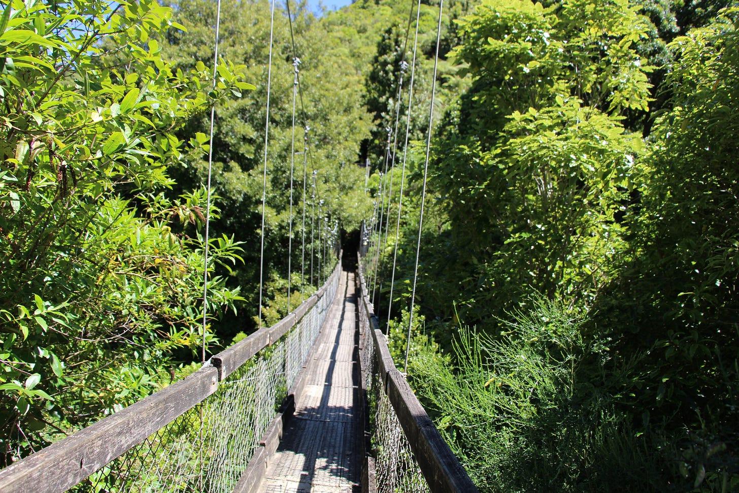 the start of a wooden swing bridge