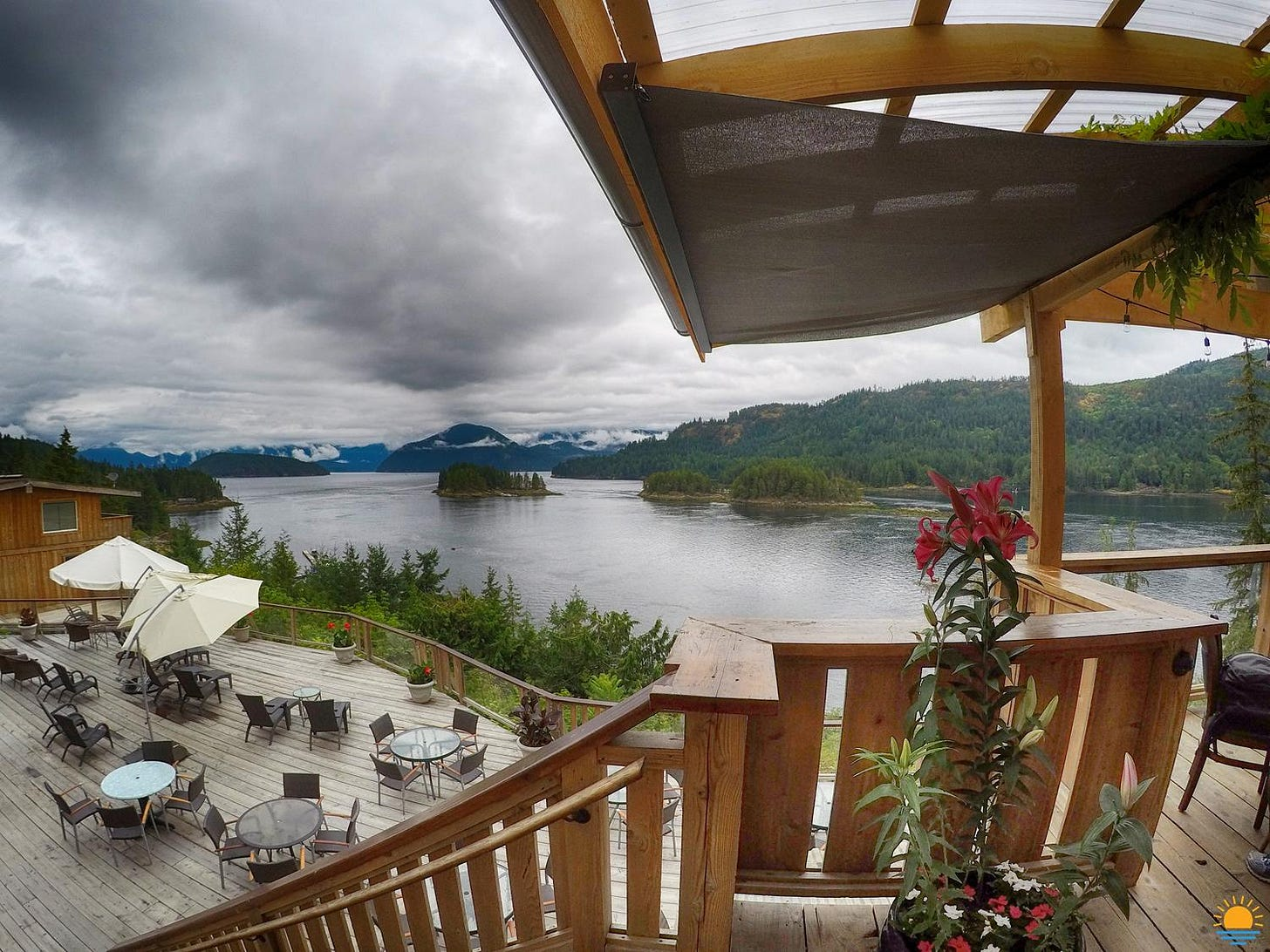 Even on an overcast day, the view from the deck at West Coast Wilderness Lodge is incredible.