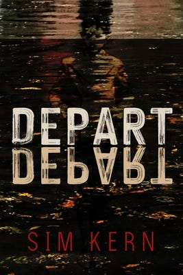 The cover of DEPART, DEPART by Sim Kern features a distorted image of what looks like a figure who is partially underwater.