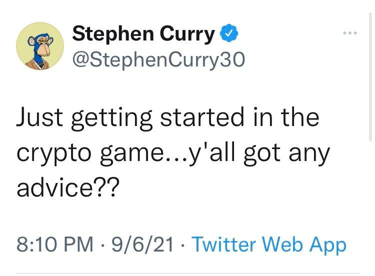 Stephen Curry tweets his support for crypto. – Singkat.net