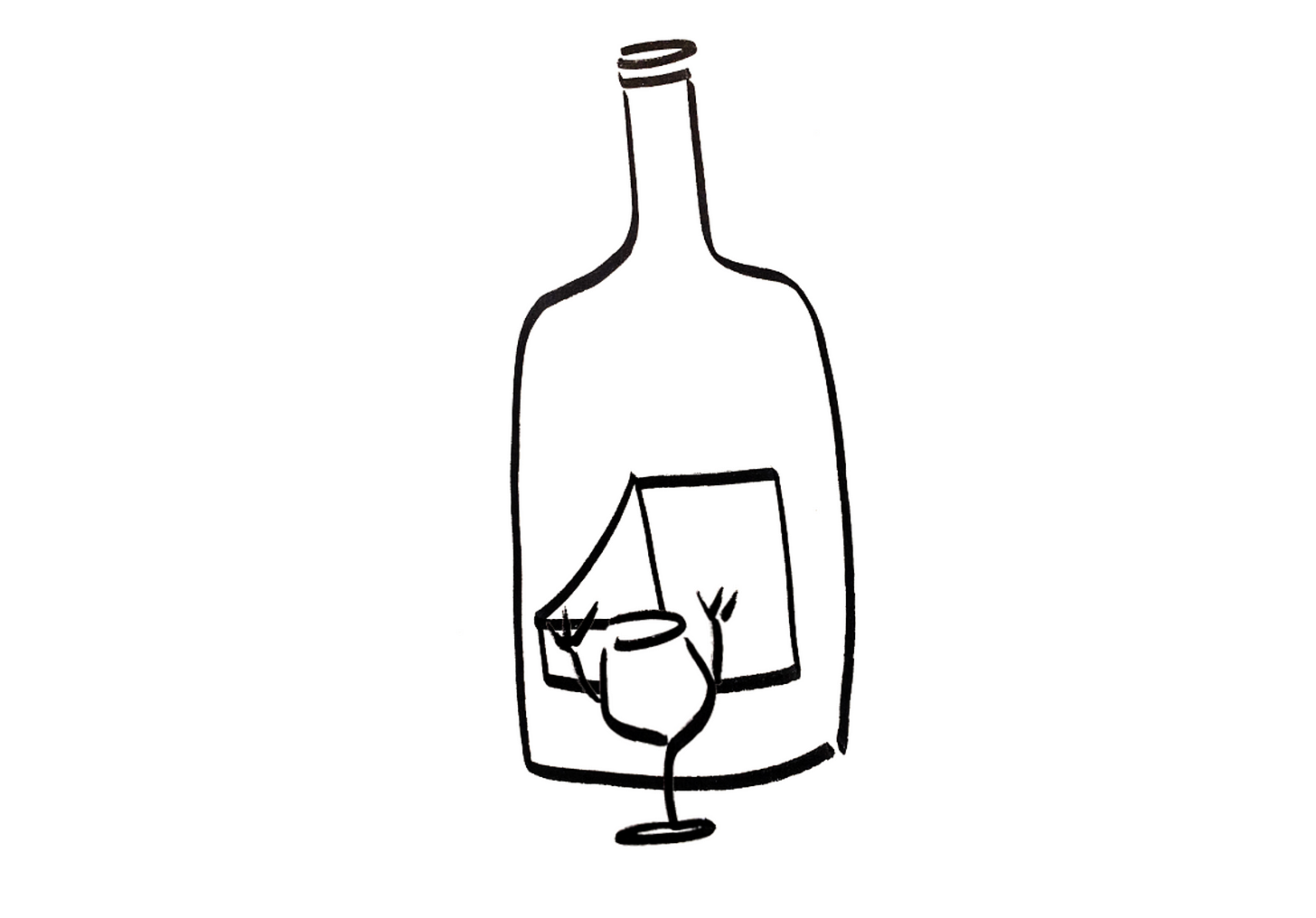 An anthropomorphic wine glass adjusting the label on a wine bottle