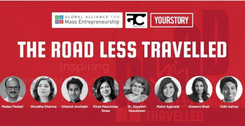 Image may contain: 8 people, including Utkarsh Amitabh, text that says 'GA GLOBAL ALLIANCE FOR Mass Entrepreneurship नट YOURSTORY THE ROAD LESS TRAVELLED Inspiring Madan Padaki Shradha Sharma Utkarsh Amitabh Kiran Mazumdar Shaw Dr. Gayathri Vasudevan Malini Agarwal Ameera Shah Vidit Aatrey'
