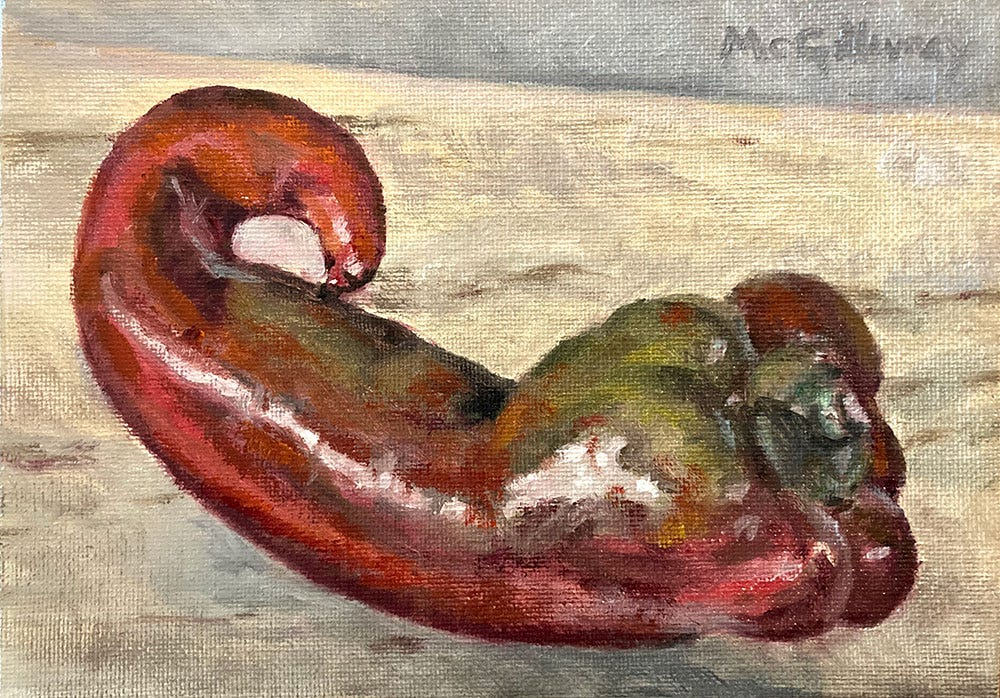 Oil painting of a sweet Italian pepper