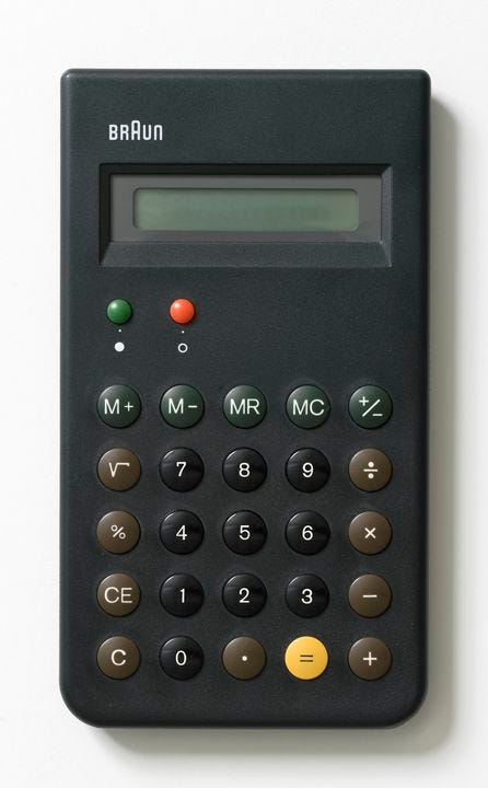 2012/33/1 Calculator, leaflet and packging, Braun ET66, plastic / metal / electronic components / paper, designed by Dieter Rams and Dietrich Lubs, for Braun AG, Germany, made in Hong Kong, 1987. Click to enlarge.