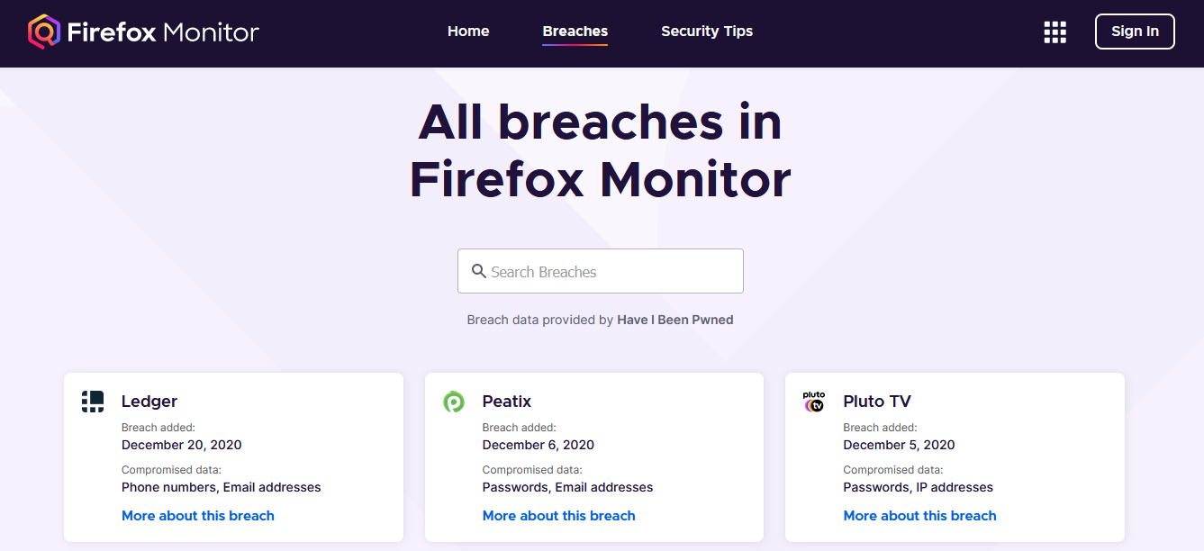 Breached websites - Firefox Monitor