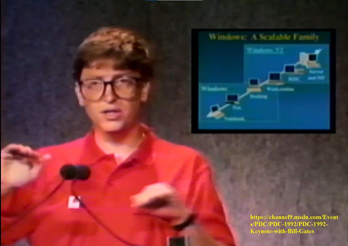 Bill Gates presenting Windows NT 3.1