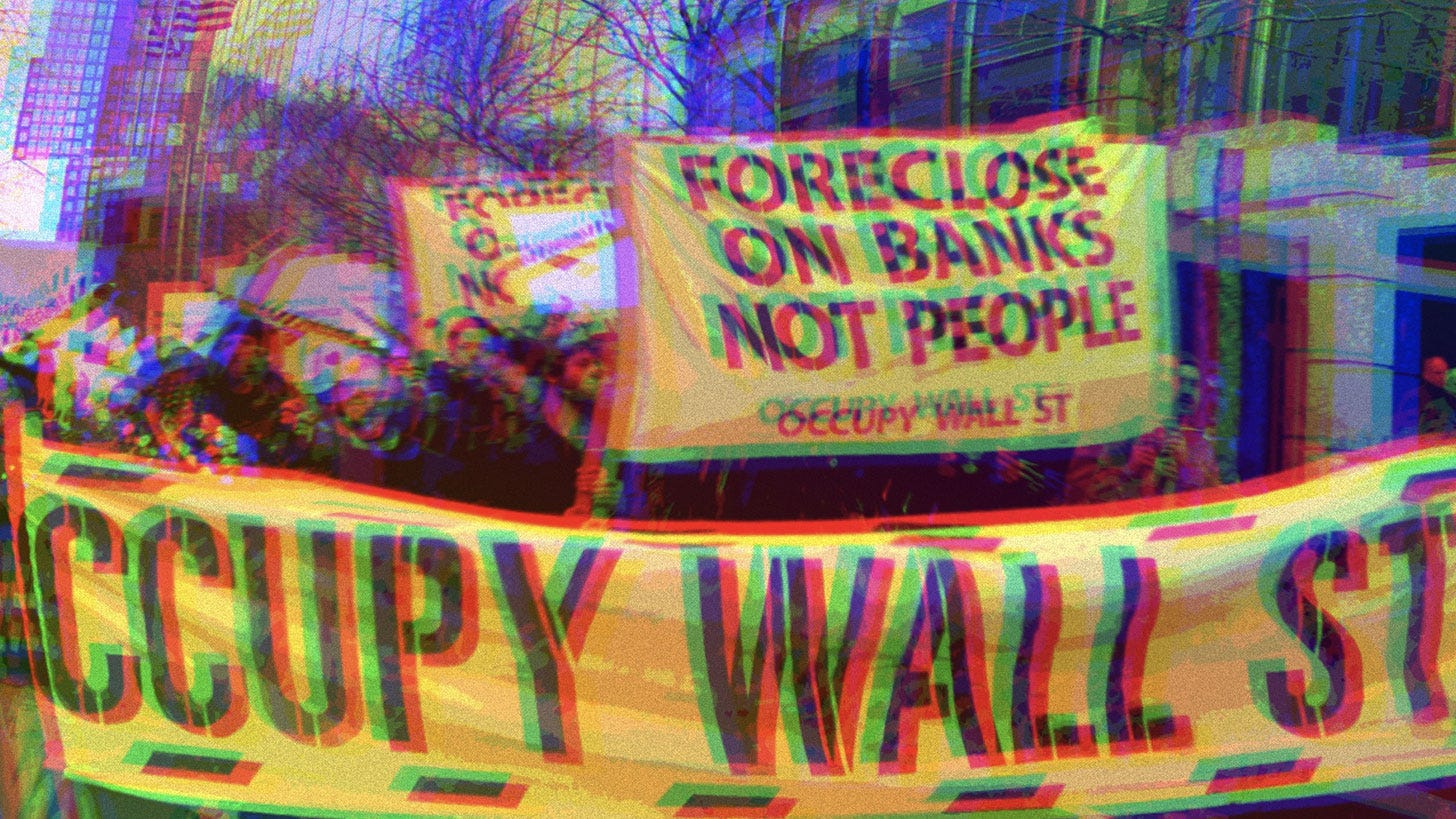 Protestors holding Occupy Wall Street signs