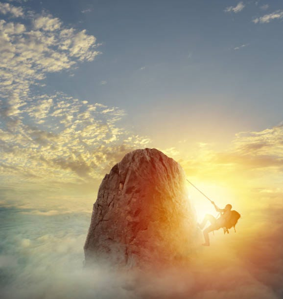 Businessman climb a mountain to get the flag. Achievement business goal and difficult career concept Businessman climb a mountain with a rope to get the flag. Achievement business goal and difficult career concept overcome stock pictures, royalty-free photos & images