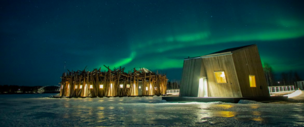 Recently opened Arctic Bath, on the frozen River Lule in snowy Swedish Lapland