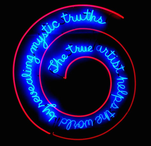 Bruce Nauman, The True Artist Helps the World by Revealing Mystic Truths, 1967, neon and clear glass tubing suspension supports; 149.86 x 139.7 x 5.08 cm (Philadelphia Museum of Art)