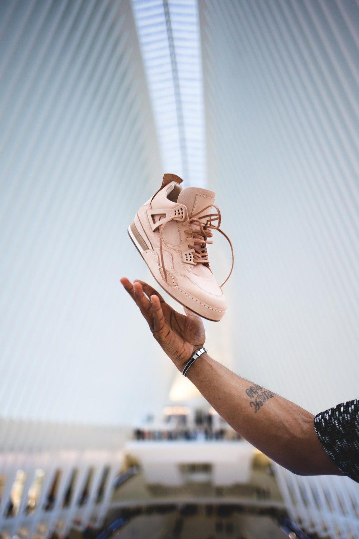 white Air Jordan 4 shoe