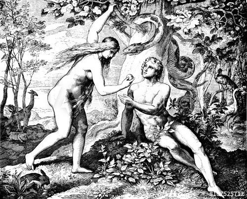 Adam and Eve in the garden, she's handing him an apple while the snake looks on.