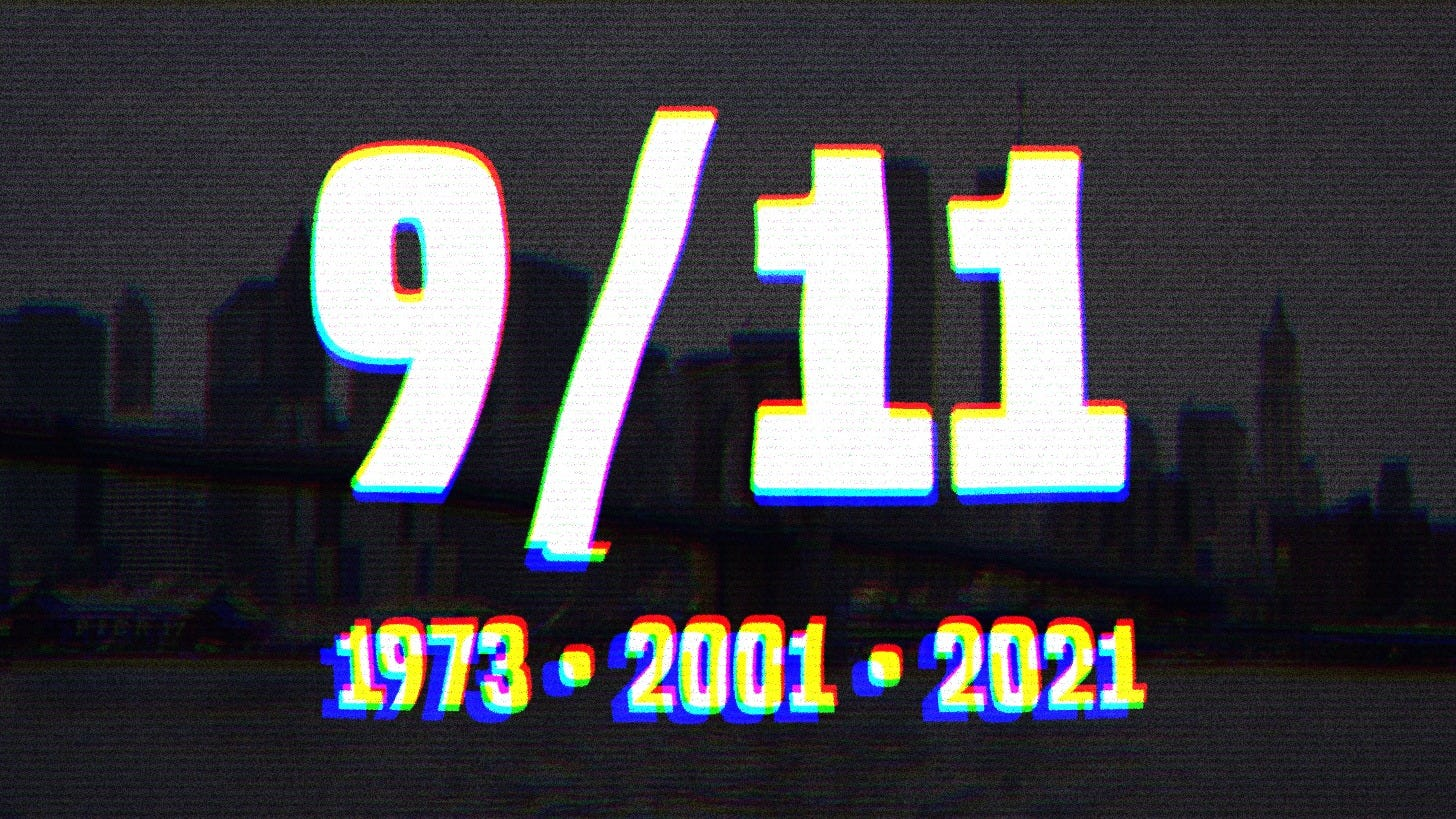 White text on a black background that says 9/11: 1973, 2001, 2021.