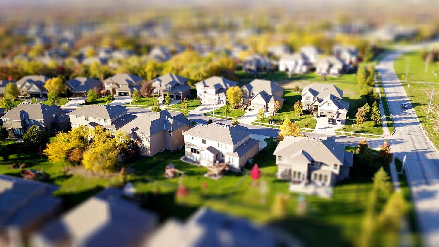 Vista aérea de un suburbio