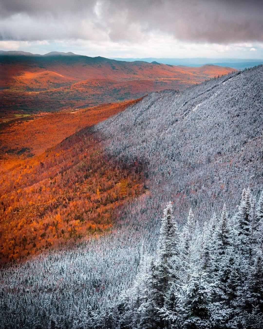 Mountain landscape with half frozen half not