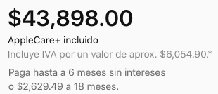 Precio del iPhone 12 Pro Max: $43,898