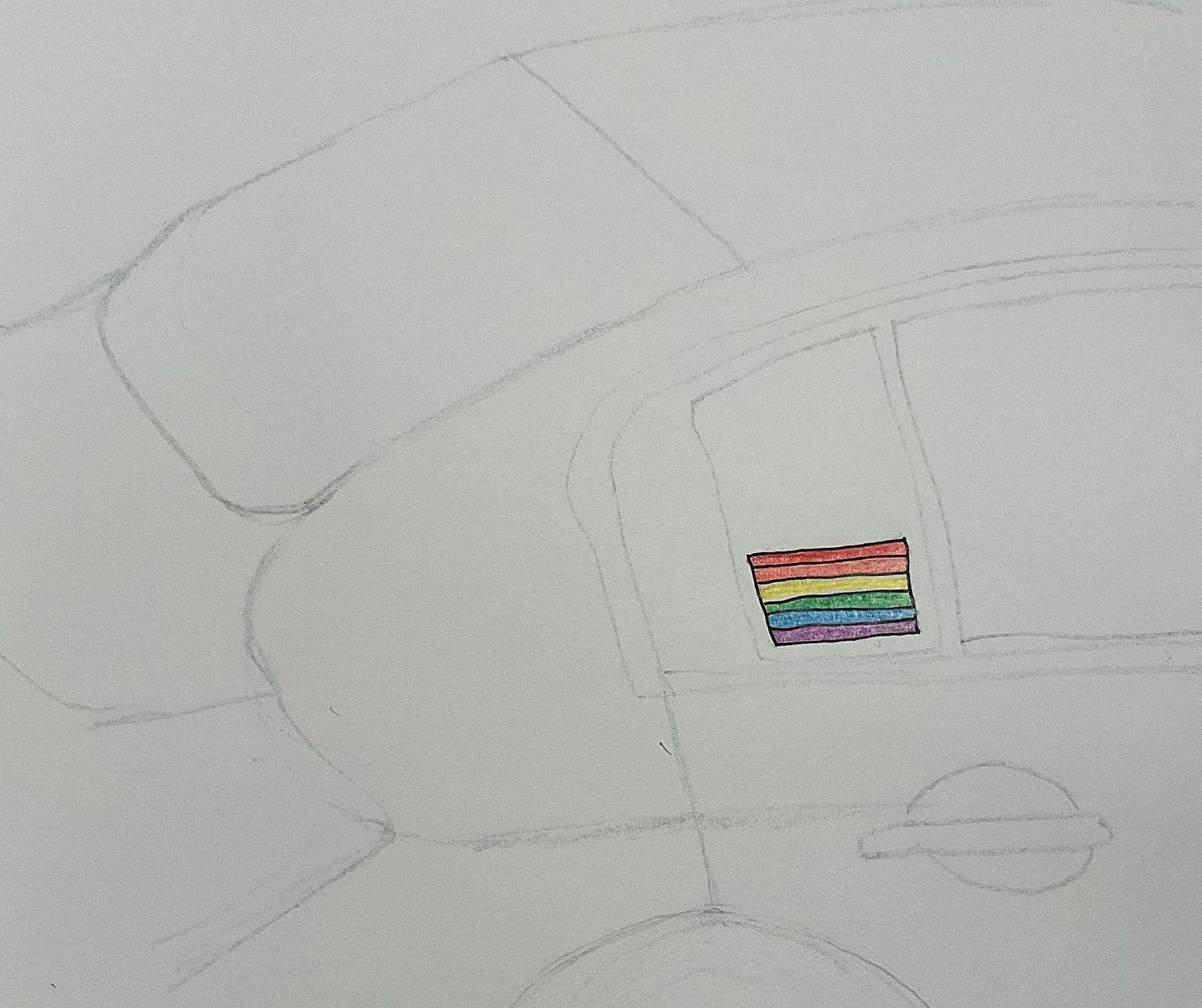 Line drawing of the side of a car with a small rainbow flag sticker in the back window