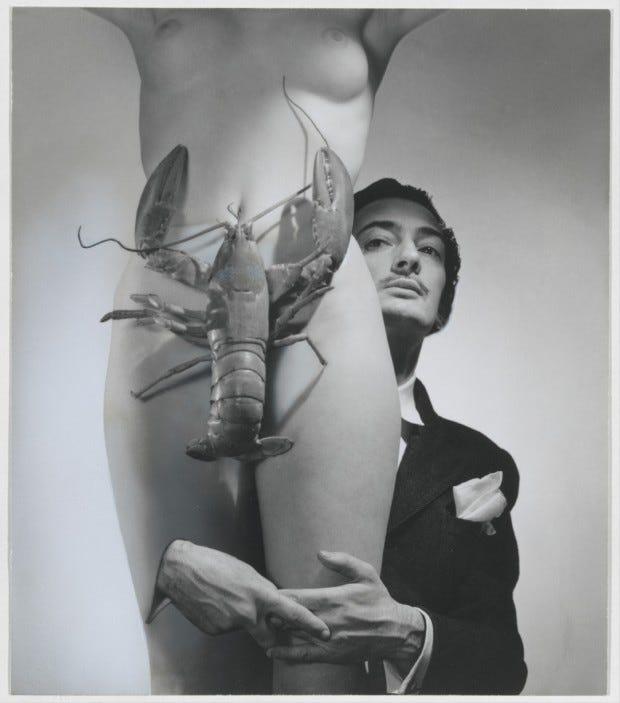 Salvador Dali and the lobster, 1939. Carolyn Tillie.