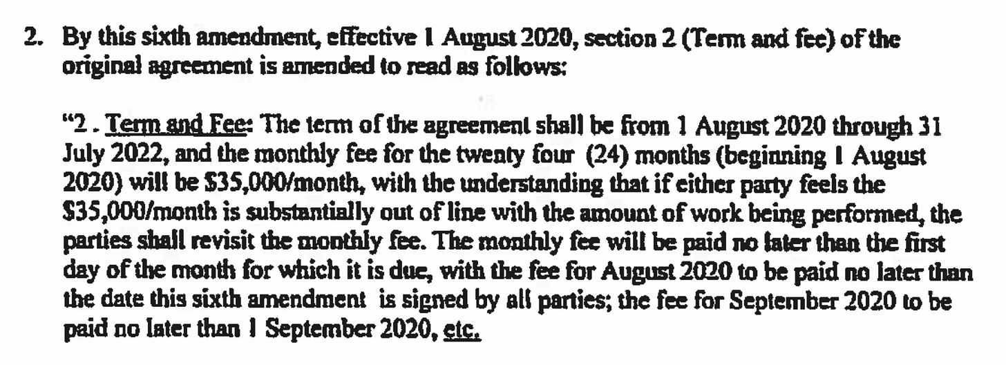 A screenshot from the registration agreement, showing that the monthly fee is $35,000.