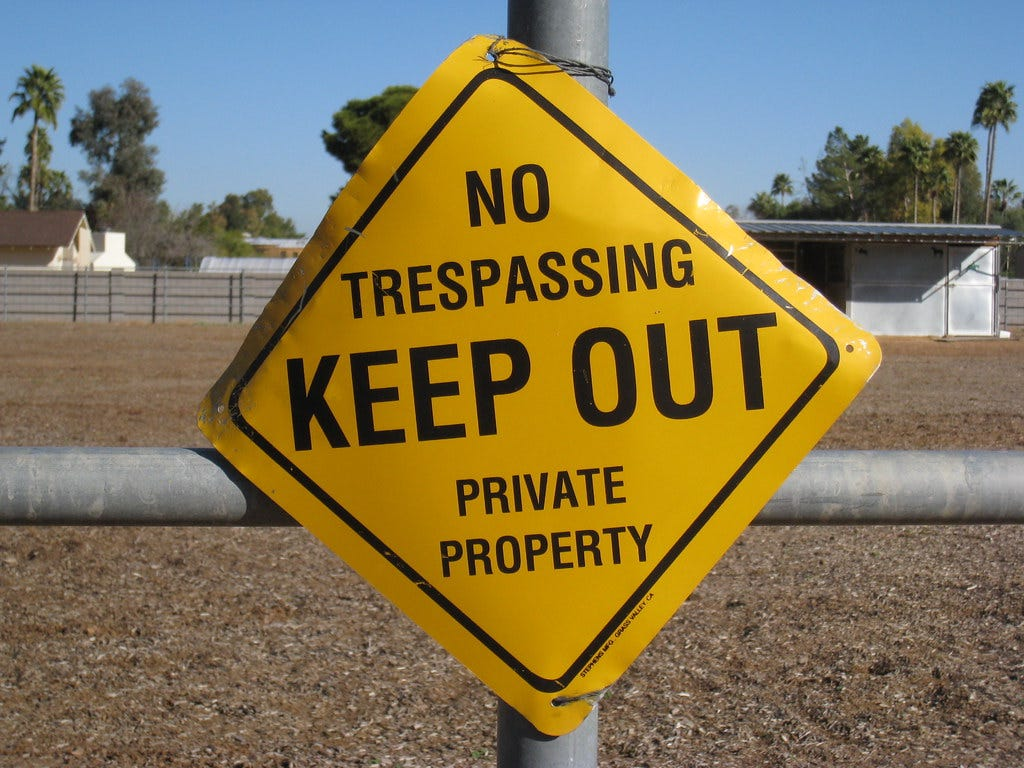 """""""No Trespassing"""" by Dru Bloomfield - At Home in Scottsdale is licensed under CC BY 2.0"""