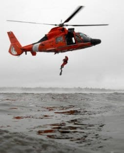 SAVANNAH, Ga. - Coast Guard Petty Officer 1st Class Tony Ariola, a helicopter rescue swimmer from Air Station Savannah, hones his skills in Charleston Harbor, S.C., during a training mission. The crew of the Coast Guard rescue helicopter was on their way to Air Station Savannah's northern staging area - Air Facility Charleston. Coast Guard photo by PA1 Donnie Brzuska, PADET Jacksonville, Fla.