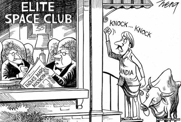 India Mars Mission: New York Times apologises for cartoon - BBC News