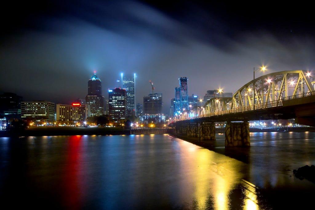 Foggy night in Portland