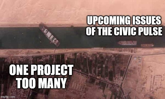 A meme of the EverGiven container ship blocking the Suez Canal