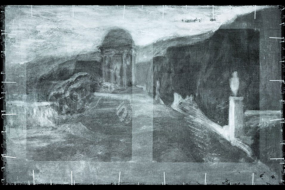 X-ray radiography of Pablo Picasso's La Miséreuse accroupie(The Crouching Woman), 1902, reveals a landscape hidden beneath the visible surface. Photo courtesy of the Art Gallery of Ontario.