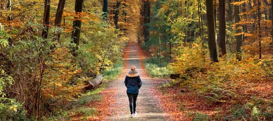 Woman walking on a Fall day