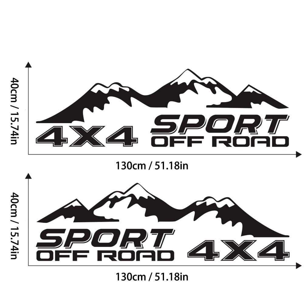 2 pcs graphic sticker 4X4 off-road car sticker Pickup truck decal for D-MAX Navara