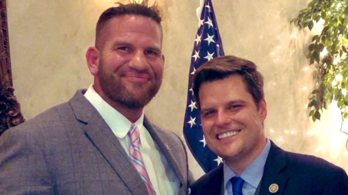 Longwood, Florida City Commissioner Matt Morgan and Rep. Matt Gaetz (R-FL) at a February 28, 2019 fundraiser for Jason Brodeur's Florida State Senate campaign. (Photo: @BPmattmorgan on Twitter.)