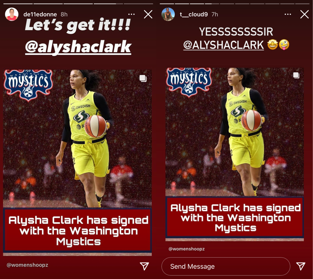 Side-by-side screenshots of Elena Delle Donne and Natasha Cloud's Instagram stories welcoming Alysha Clark to the Mystics.