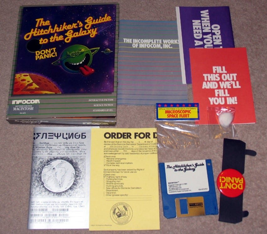 Contents of the original Hitchhiker's Guide retail package.