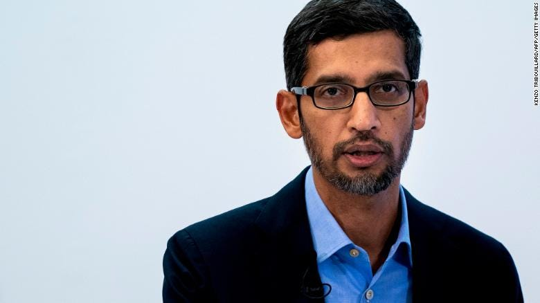 Google CEO Sundar Pichai speaks during a conference in Brussels on January 20, 2020.