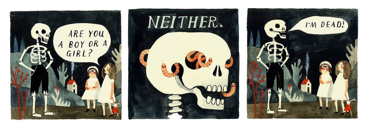 """Une série de trois cases dessinées : deux petites filles vêtues de blanc demandent à un squelette """"Are you a boy or a girl?"""", le squelette répond """"Neither."""" il a des vers souriants qui sortent de ses orbites. Le squelette ajoute """"I'm dead!"""""""